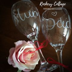 Pyrography Engraving & Digital Hand-Lettering & Design by RockeryCottage Personalised Glasses, Personalised Gifts, Handmade Gifts, Lettering Design, Hand Lettering, Wine Glass, Glass Art, Parents Anniversary, Parent Gifts