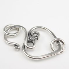 Silver Heart Clasp Finding, Hammered, Wire-Wrapped Sterling, 14g.