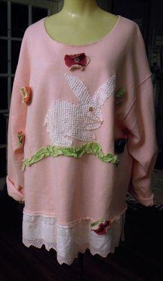 Rabbit Fleece Shirt/Pink Bunny Shirt/Splash Dyed by SheerFab