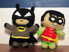 This is a pattern for amigurumi of Batman and Robin dolls. Each doll is about six inches tall when finished, with Batman slightly larger than Robin. It uses basic crochet techniques like single crochet, double crochet, increase/decrease, and the magic ring. It's worked in continuous rounds. The gauge is not important, just please use a small hook that creates tight stitches so the stuffing does not show through.