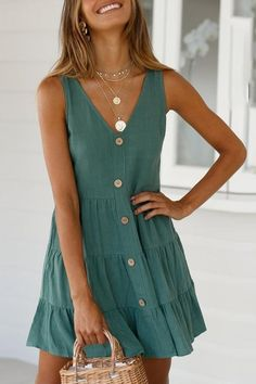 Dress fashion Fashion Casual V-Neck Solid Pleated Dress Mode lässig V-Ausschnitt solide Plissee Kleid - Momonight Elegant Dresses, Casual Dresses For Women, Cute Dresses, Sexy Dresses, Short Dresses, Casual Outfits, Clothes For Women, Dress Casual, Formal Dresses