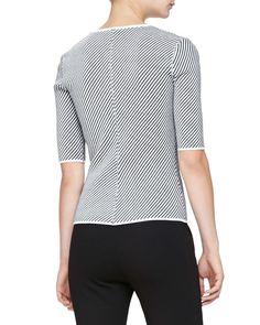 Diagonal-Striped Knit Elbow-Sleeve Jacket