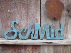 Türschild Schriftzug Used Look mit Herz von LeRoe auf DaWanda.com (individuell)