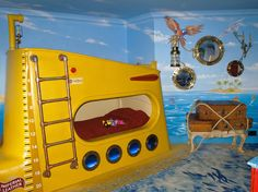 yellow submarine, isn't there a song that fits this room. Pirate Bedroom, Kids Bedroom, Yellow Submarine, Ocean Room, Star Wars Kids, Big Girl Rooms, Mellow Yellow, Room Themes, Nautical Theme