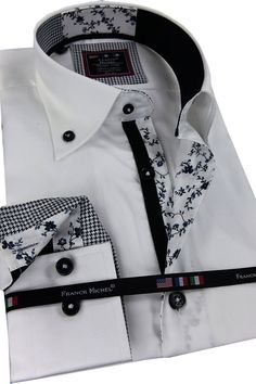 CHEMISE HOMME RIVIERA BLANCHE COL POIGNETS 3 MOTIFS Mens High Collar Shirts, Mens Printed Shirts, Dress Attire, Men Dress, Shirt Dress, Plain White Shirt, White Shirts, Mens Shirt Pattern, Casual Shirts For Men