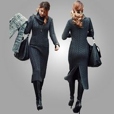 2014 Korean Fall and Winter Turtleneck Collar Knit Long Slim Twist Maxi Sweater Dress Split Vintage Cable Ankle Length Clothing