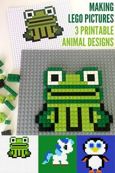 Making LEGO Mosaics: 3 Printable Animal Designs. A great challenge for school aged children, using lots of mathematical skills. Star Wars Kids, Lego Star Wars, Modele Lego, Lego Math, Lego Activities, Toddler Activities, Lego Pictures, Animal Pictures, Lego Mosaic