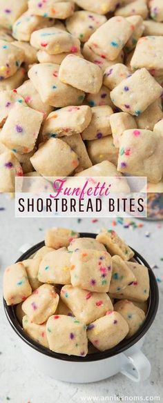 These adorable mini Funfetti Shortbread Bites are ridiculously easy to make and totally addictive! These adorable mini Funfetti Shortbread Bites are ridiculously easy to make and totally addictive! No Bake Desserts, Delicious Desserts, Dessert Recipes, Yummy Food, Recipes Dinner, Mini Desserts, Chocolate Desserts, Easy Desserts, Bite Sized Desserts