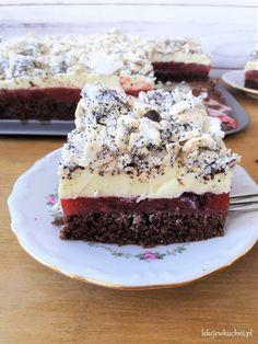 Ciasto Telimena z truskawkami, budyniem i bezą przepis Sweet Desserts, Cheesecake, Food And Drink, Pudding, Sweets, Party, Bakken, Gummi Candy, Cheesecakes