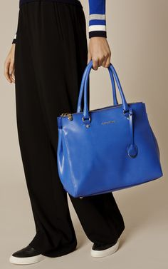 Karen Millen, LARGE LEATHER TOTE BAG Blue