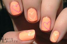 Neon Heart Nail Art w/ China Glaze Sun of a Peach and That's Shore Bright
