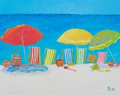 Deck Chairs and Beach Umbrellas  #beachdecor #beachwallart #beachhousedecor…