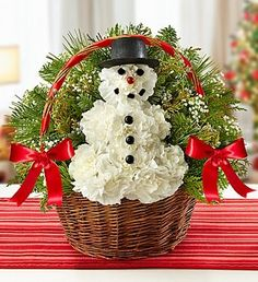 Snowman Carnation Basket