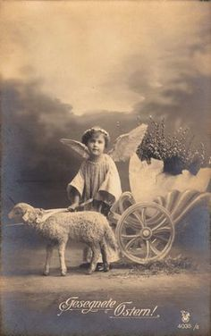 Free Vintage Clip Art - Easter Angel with Lamb - The Graphics Fairy