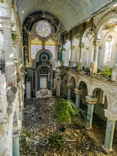 "The abandoned Grand Synagogue in Constanta, Romania, built 1911.  In 2012 there were approximately 50 Jews there--from 2500 in 1941. The Romanian government will not help guard, preserve, or rebuild the synagogue. ""The three grand monotheist religions – Christianity, Judaism and Islam have all lived in peace here and all have built a place of worship at the shore of the Black Sea. All the places of worship are functional except the Grand Synagogue.""…"