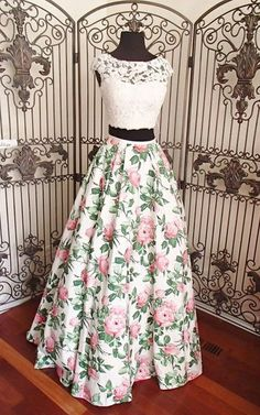 Formal Prom Dresses, asa line ivory pink print beaded lace two piece long prom dress Brickell Bridal Indian Gowns Dresses, Indian Fashion Dresses, Indian Designer Outfits, Designer Dresses, Evening Dresses, Dress Fashion, Fashion 2018, Fasion, Trendy Fashion
