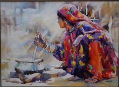 Females in Pakistani art. Fabric Painting, Painting & Drawing, Watercolor Illustration, Watercolor Art, Pakistan Art, Watercolor Paintings For Beginners, Art Beat, Art Corner, Pastel