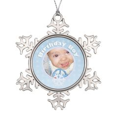 Personalize and customize #Birthday #Boy Photo Winter #Onederland Light Blue Pewter Snowflake #Ornament with Snowflakes and Your photo by #PLdesign #WinterOnederland #OneYearOld #BabyBoy #BirthdayBoy
