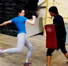 Daisy Ridley, training for fight scenes in The Force Awakens.