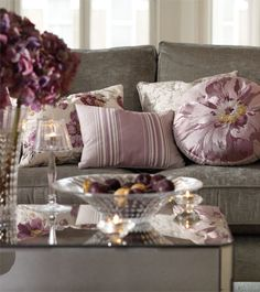 Find sophisticated detail in every Laura Ashley collection - home furnishings, children's room decor, and women, girls & men's fashion. Living Room Sectional, Living Room Grey, Living Room Decor, Laura Ashley Cushions, Salons Violet, Lavender Room, Front Rooms, Room Colors, Home Furnishings