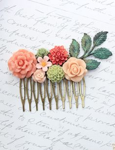 Flower Hair Comb Wedding Hair Accessories Floral Collage Teal Green Patina Leaf Branch Rose Coral Peach Pink Dahlia Daisy Dahlia Leaves