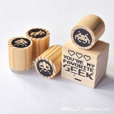 Geeky Wedding Stamp set. Space invaders stamps. Gamer by Biterswit