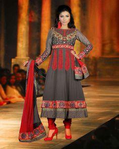 Grey Resham Embroidered Anarkali Suit