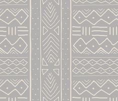 Mudcloth in bone on ash fabric by domesticate on Spoonflower - custom fabric