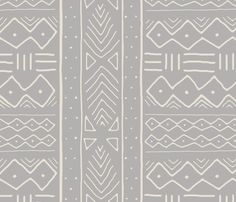 Mudcloth in bone on ash fabric by domesticate on Spoonflower - custom fabric