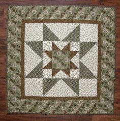 Green Quilted Table Topper Wall Hanging Patchwork Table