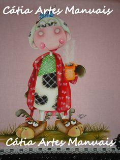 Vaquinha dorminhoca pintada em tecido colorido. http://www.catiaartesmanuais.com/