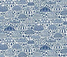 Folky Vintage Brollies fabric by christinewitte on Spoonflower - custom fabric