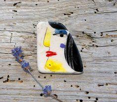 Black  White Woman portrait 2  Ceramic Brooch Pin Jewelry by GUDAR