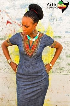 African Print On Denim Dresses - AfroCosmopolitan