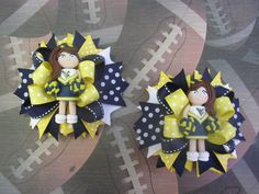 Custom WVU Mountaineers Cheerleader Girl Hair bows by RoseWC96