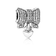 Heart and Bow Dangle Charm - Sterling Silver with Clear CZ - PANDORA - 791776CZ