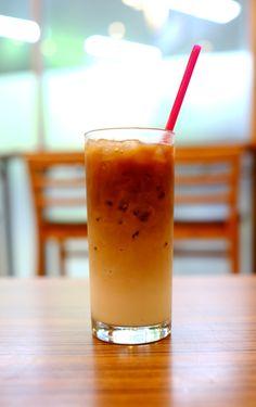 Ice cafe latte good for summer sunset!