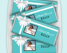Tiffany and Co. Bridal Shower Theme Ideas: Personalized HERSHEY'S Candy with the couple's engagement picture for wedding shower favors