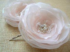 Blush pink bridal wedding hair flowers 2 pcs bridal by LeFleurShop