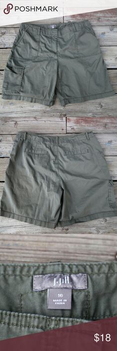 """Clearance! J Jill Long Green Shorts - Size 16 These have been worn, but are in great condition.  They are knee length, and stretchy for a comfy fit. Size 16: waist laying flat is 19"""" and inseam is 9"""".  Color is army green.  Summer clearance to make room for fall items!  Stock up while you can! Reasonable offers accepted, but no low ball offers, please. J. Jill Shorts Bermudas"""