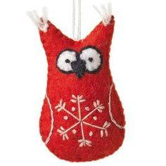 Fair Trade from Nepal.  This owl ornament has been stitched and stuffed by skilled artisans using traditional felting techniques. Give a  ooooot this Holiday Season!
