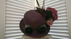 Bordeaux Steampunk Bowler Hat by LadyMallemour on Etsy