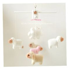 Musical Baby Mobile Counting Sheep (5 Baby Sheep and a Cloud) Hanging Baby Mobile for Baby Crib, Modern Nursery Decor, Kids Playroom decor