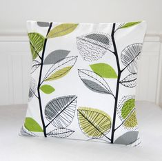 decorative pillow cover lime bright green grey leaves cushion cover, 16 x16 inch cushion cover on Etsy, $23.27