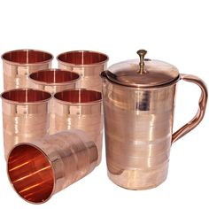 DakshCraft Pure Copper Jug with 6 Tumbler Glass Set for Ayurvedic Healing