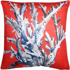 Pillow Décor Ocean Reef Coral on Red Throw Pillow Corals are the trees and flowers of the ocean. The ivory bush coral depicted on this pillow is set against a bright red background that highlights its intricate and delicate structure. Coral Throw Pillows, Toss Pillows, Throw Pillow Sets, Outdoor Throw Pillows, Accent Pillows, Coral Home Decor, Geometric Throws, Decorative Pillows, Ocean