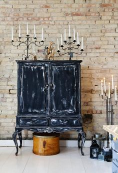 Antique cabinet + brick wall