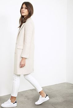 Spring/Fall cream coat paired with white royales