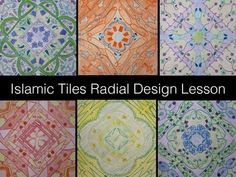 Lesson plan for Islamic tiles radial design project with symmetry and color theory. Step-by-step photos and handouts!