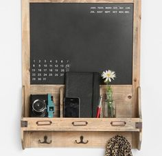 Wood Wall Cabinet with Baskets and Hooks | Farmhouse style, Wood ...